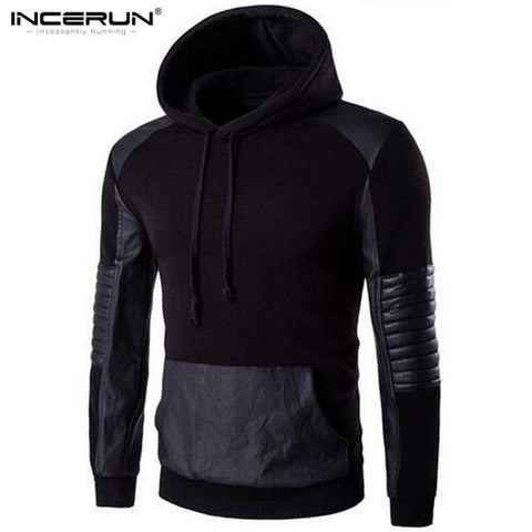 Sweatshirt Pullover Leather Patchwork Hoody Jacket