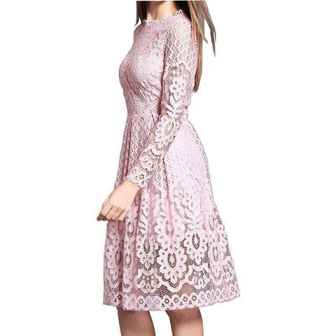 High Quality Bohemian White Lace Casual Long Sleeve Dress - Wear.Style