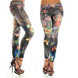 Elastic Ankle-length Slim Punk Style Sexy Butterfly Flower Printed Jeans