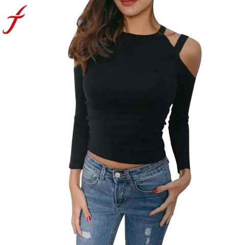 Off Shoulder Sexy Long Sleeve O Neck Causal Slim Top - Wear.Style