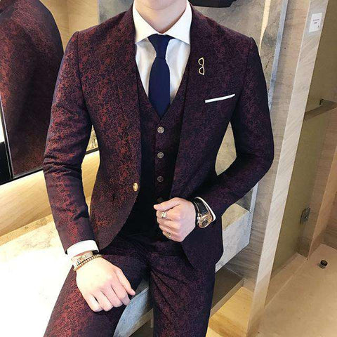 Single Breasted 3 Piece Jacquard Luxury Wine Red British Suit