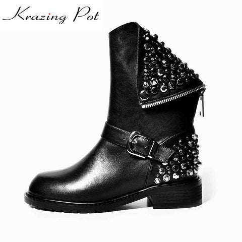 Rivet Crystal Decoration Round Toe Mild-Calf Boots - Wear.Style