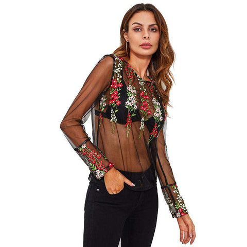 Botanical Embroidery Mesh Transparent Black Round Neck Long Sleeve Sheer Top