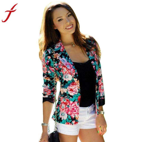 Floral Slim Long Sleeve Turn-Down Collar Single Button Jacket - WS-Jackets