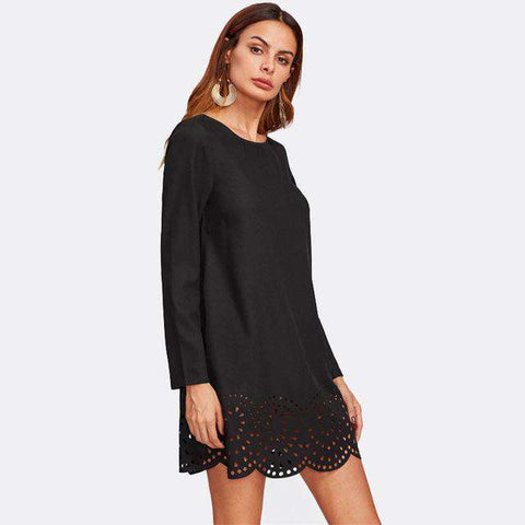 Round Neck Scallop Laser Cut Hem Black Long Sleeve Short Dress