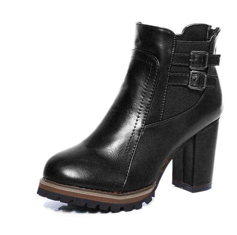 Retro Design Buckle Strap Lace Up Zipped Round Toe Thick Bottom Boots - Wear.Style