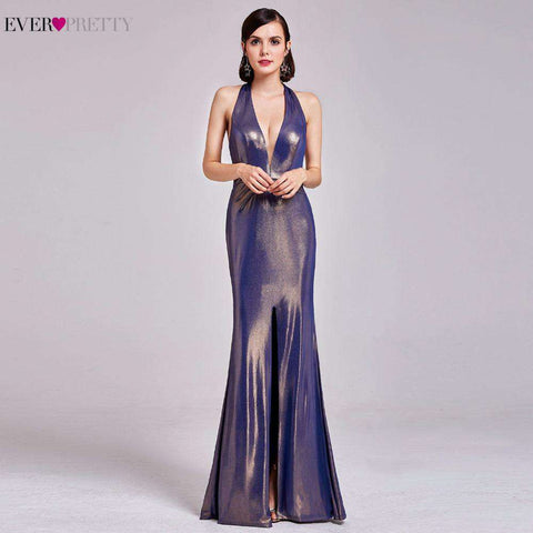 Long Backless V Neck High Splits Prom Party Dress Gown