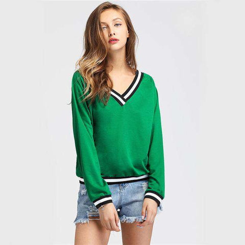 Contrast Striped Trim V-neckline Green Long Sleeve Sweatshirt