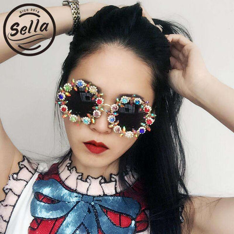 Unique Luxury Retro Round Crystal Flower Oversized Handmade Sun Glasses