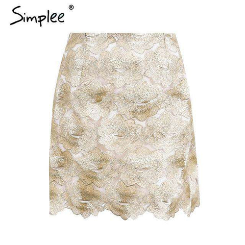High waist Embroidery Short boho Style Chic Pencil Skirt