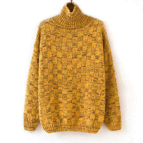 Plaid Casual Yellow Knitted Turtleneck Pullover - Wear.Style