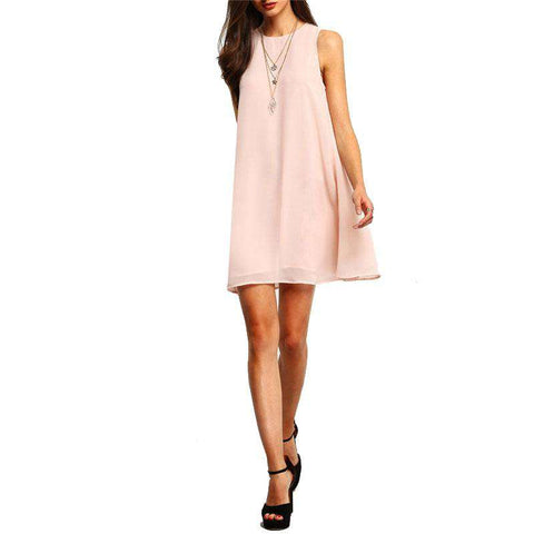 Buttoned Keyhole Back Swing Tank Pink Round Neck Tunic Sleeveless Short Dress