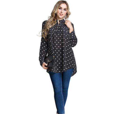 Black White Dot Print Long Sleeve Shirts Top