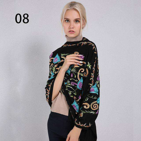 Embroidery Pashmina Long Winter Scarf - Wear.Style