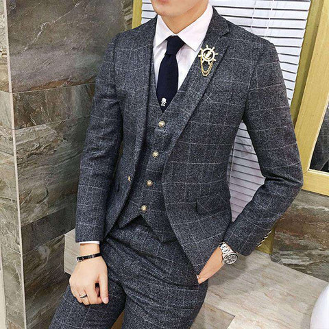 Vintage Plaid 3 Piece Tweed Slim Fit  Suits