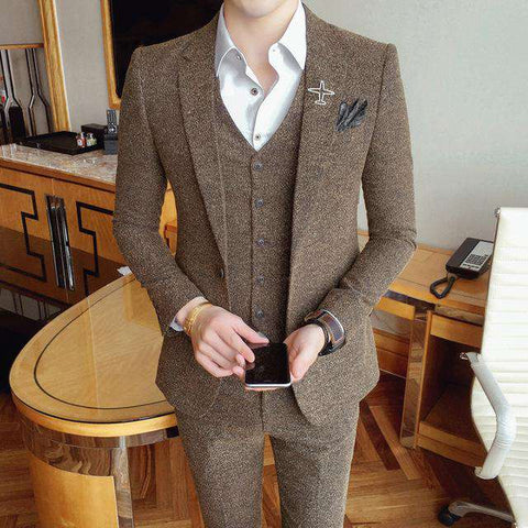Single Breasted Tweed Design Vintage Suits