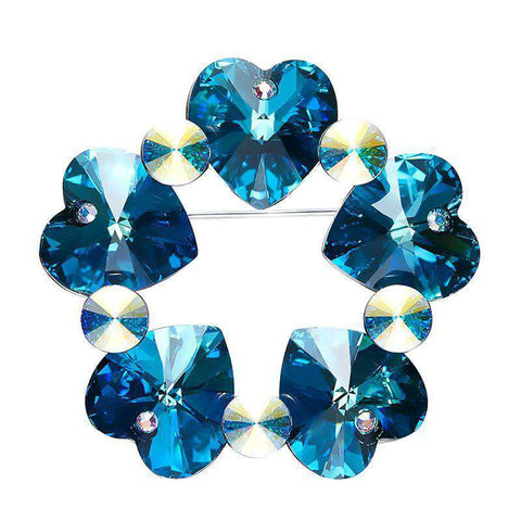 Swarovski Austrian Rhinestone Luxury Blue Purple Heart Brooches