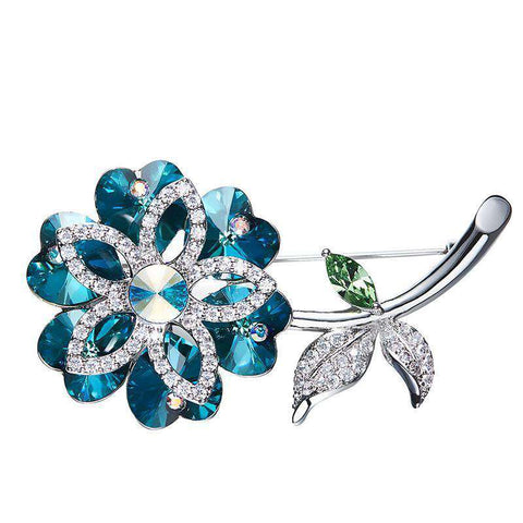 Swarovski Crystals Austrian Rhinestone Fashion Flower Leaf Brooche