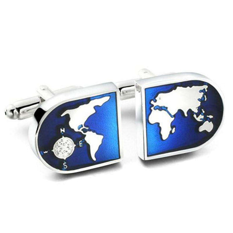 Luxury shirt Blue globe Cufflinks