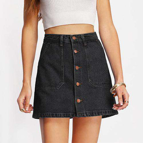 Button Up Denim A Line Black High Waist Casual Pockets Short Skirt