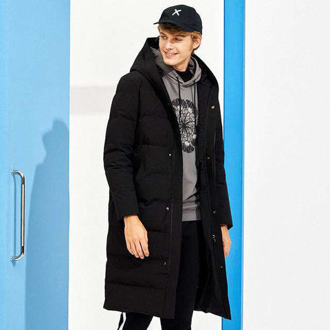 Long Solid Hooded Duck Down Coat - Wear.Style
