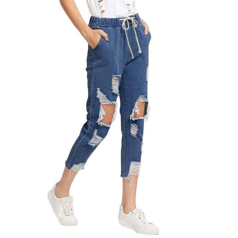 Drawstring Waist Ripped Blue Extreme Destroyed Crop Denim Fall Tapered Jeans