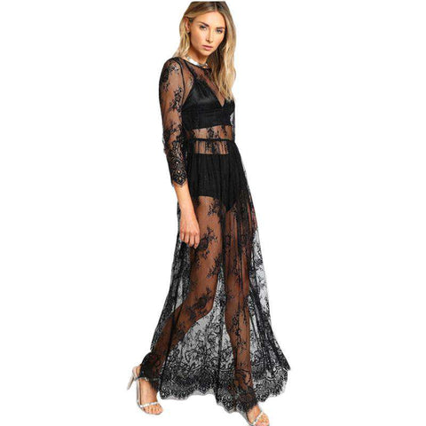 Black Sheer Floral Lace High Waist Sexy Buttoned Split Back Long Dress
