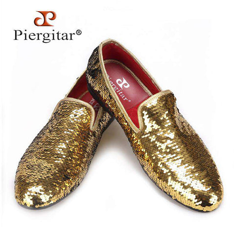 Gold Luxurious Glitter Handmade Loafers