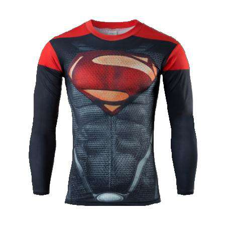 Super Heroes Avenger Batman Long Sleeve Thermal Under Top Fitness Tshirt
