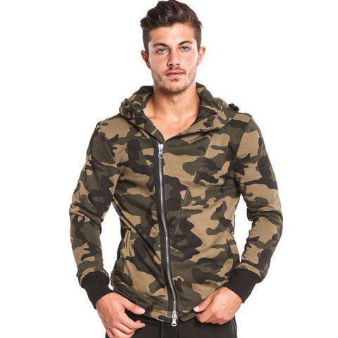 Camo Full Zipper Hooded Long Sleeve Casual Jacket - WS-Jackets