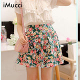 Floral Printed High Waist Pleated  Open The Fork Side Skirt