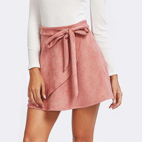 Self Belted Suede Staggered Pink Plain A Line Skirt