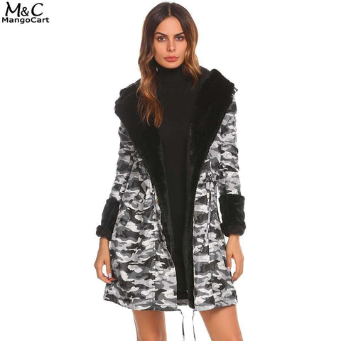 Thin Parka Camouflage Hooded Long Sleeve Floral Fleece Coat
