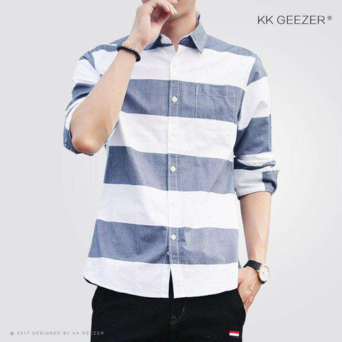 Big Striped Casual Long Sleeve Slim Fit Shirt - Wear.Style