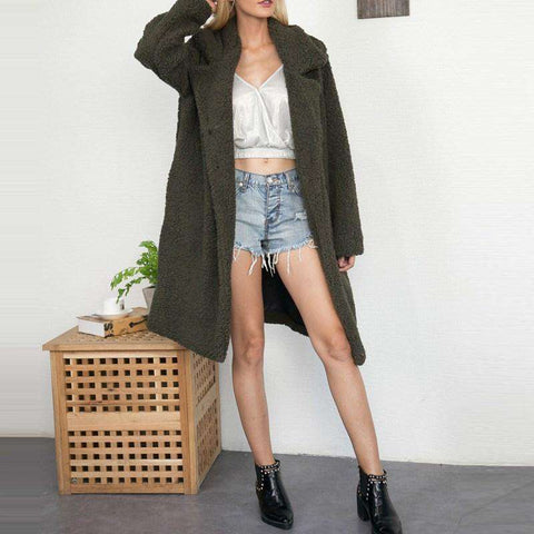 Faux Fur Wool Oversized Warm Lapel Long Parka Overcoat