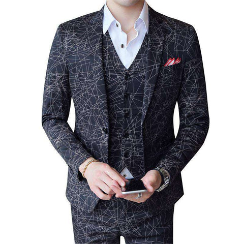 Designer 3 Pieces Geometrical Print Stripe Slim Fit Suit
