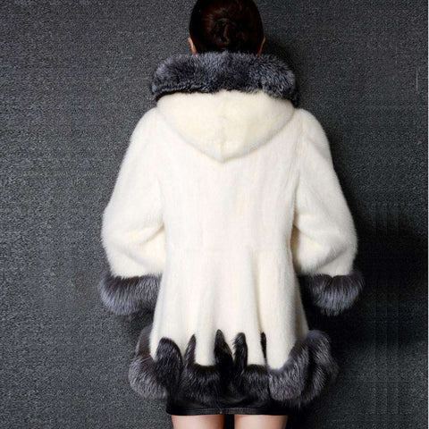 White Grey Coat with Fur Hat