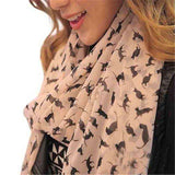 Chiffon Colourful Printed Sweet Cartoon Cat Kitten Scarf - Wear.Style