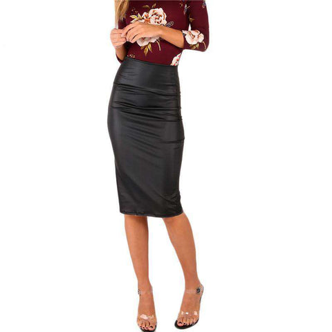 Black Coated Wide Waistband High Waist Sexy Slim Skirt