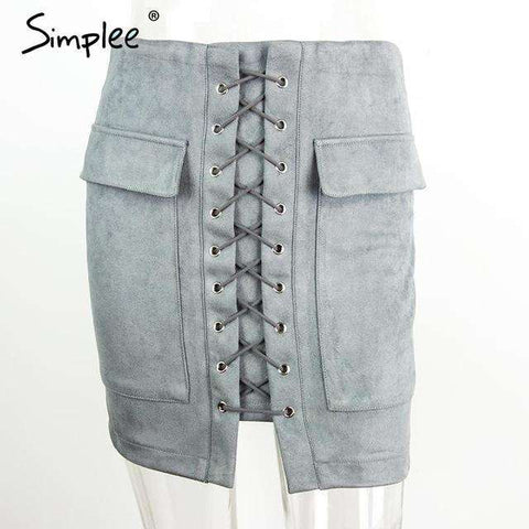 Lace up Suede Leather Short Skirt