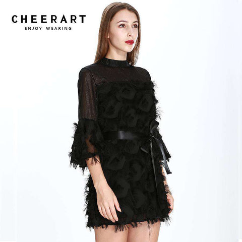 Flare Sleeve Short A Line Glitter Dress