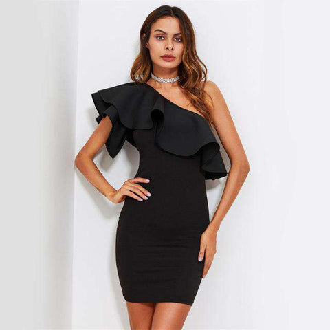 One Shoulder Off Sexy Mini Dress - Wear.Style