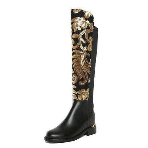 Knee High Boots Thick High Heels Glitter - Wear.Style