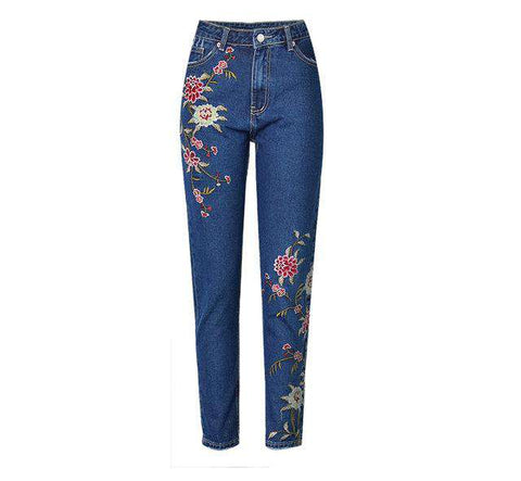 Hot Straight 3D Floral Embroidery High Waist Loose Jeans - Wear.Style