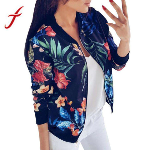 Casual Zipper Jacket Vintage Floral - WS-Jackets