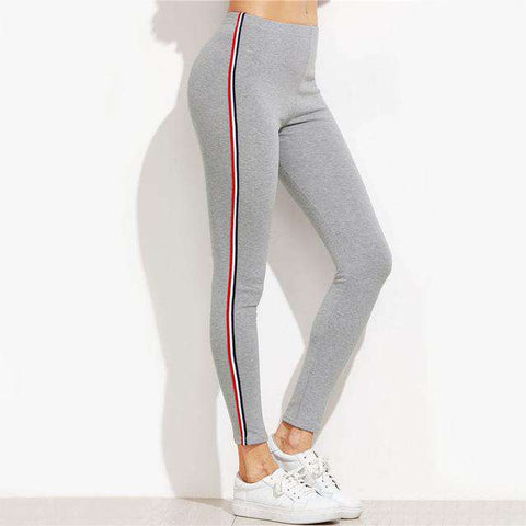 Striped Side Mid Waist Ankle-Length Grey Leggings