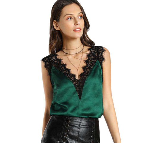 Lace Trim Double V Neck Satin Silk Sexy Tops