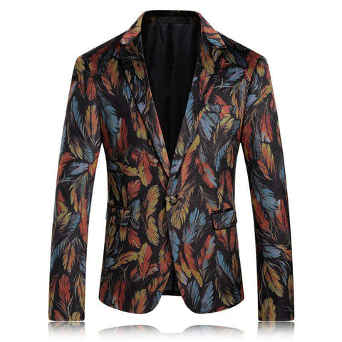 Colourful Velvet Slim Fit Floral Pattern Blazer