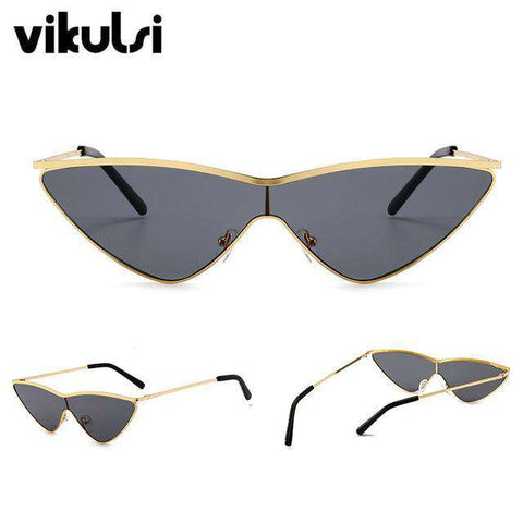Classic Designer Cat Eye Metal Frame Retro Mirror One Piece Sun Glasses - Wear.Style