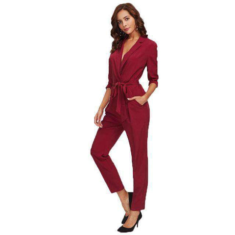 Wrap And Tie Detail Tailored Burgundy V neck Long Sleeve Jumpsuit